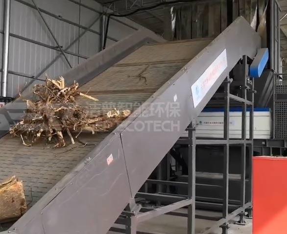 园林绿化垃圾破碎处理生产线项目现场视频